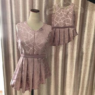Preloved Dusty Pink Jacquard Mom & Daughter Top