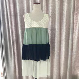 Preloved White Lace and Green Navy White Ciffon Blouse