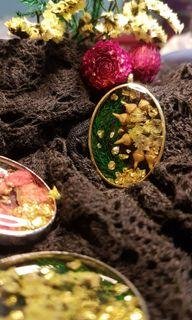 Sylvia from CLOISTERED GARDENS Collection Handmade resin jewellery (handmade pendant + Gold Plated Stainless Steel necklace)