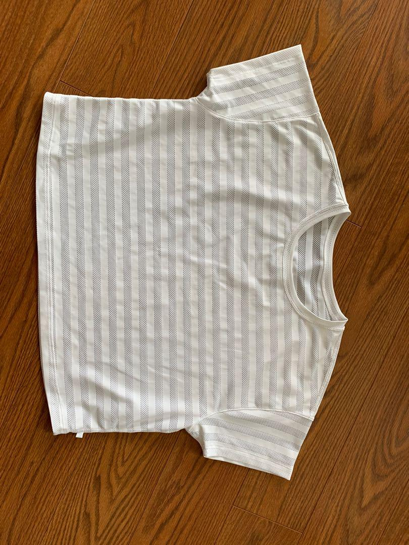 White lululemon cropped stripped mesh t-shirt