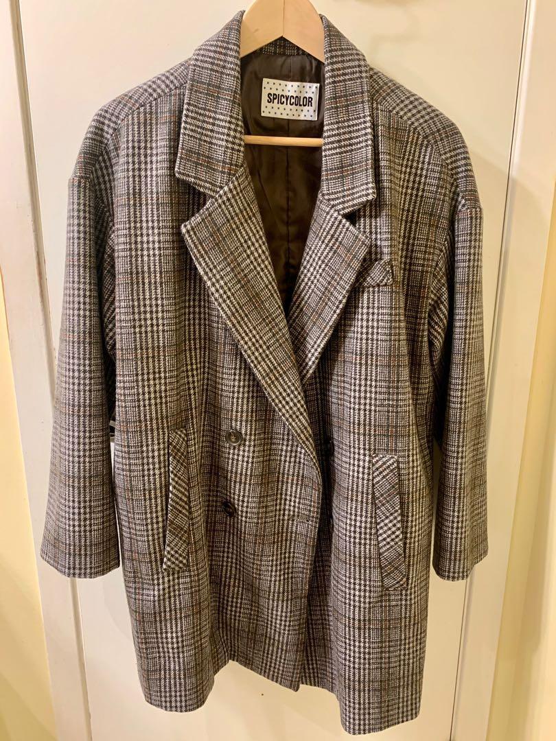 Women's plaid top coat
