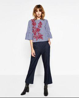 Zara Plaid Embroidery Top