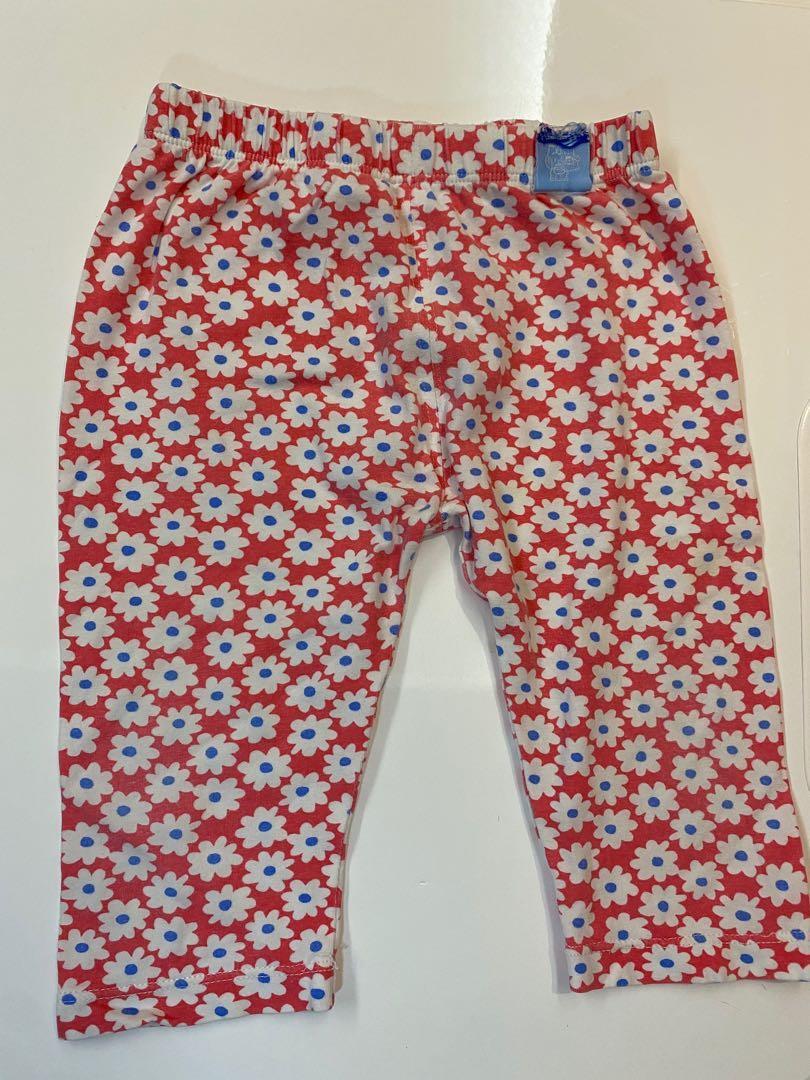 嬰幼女童彈力7分褲90cm可穿(白枚紅花) 褲長35cm