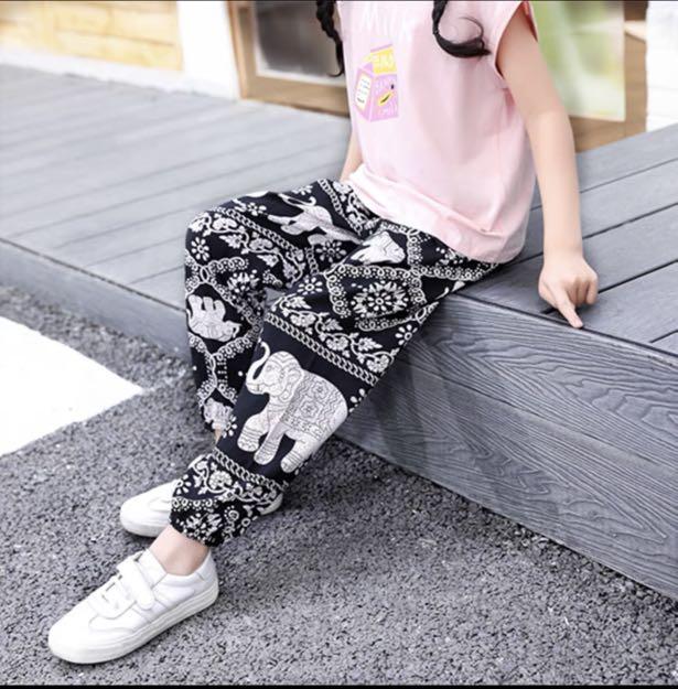 兒童東南亞風格防蚊夏季綿綢超薄款闊腿長褲90cm內可穿