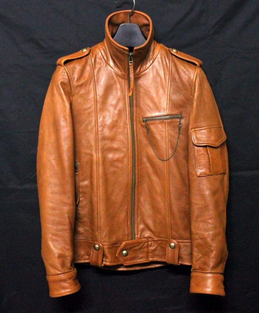 日本品牌JUN MEN 高檔柔軟羊皮立領騎士皮衣 真皮