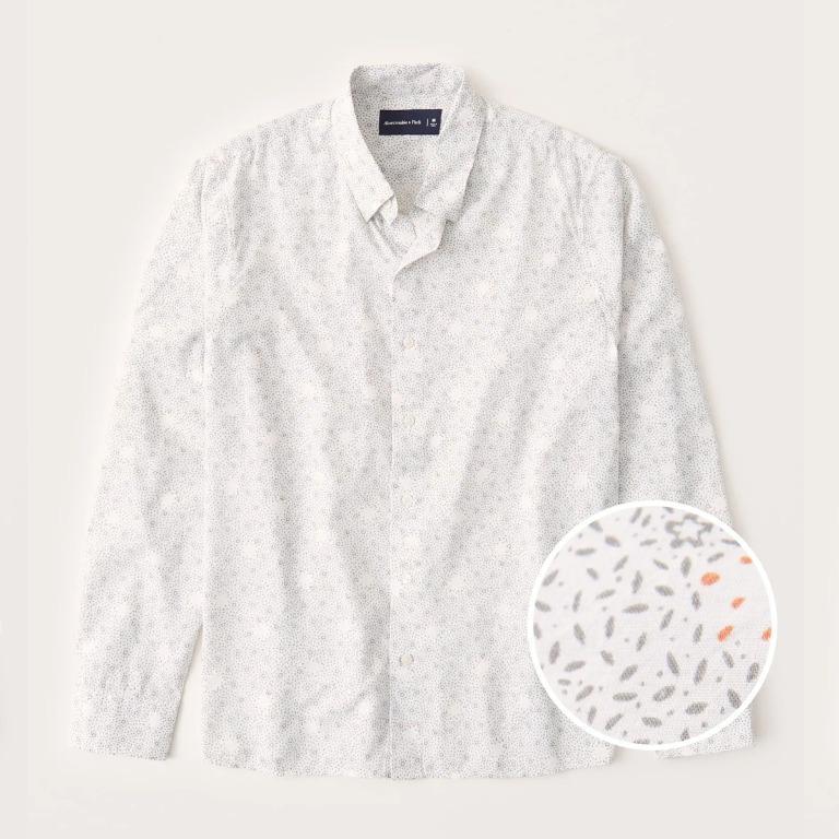 A&F 男生 夏季輕薄長袖印花襯衫 人造絲 白色 abercrombie fitch af BUYSOME I0110
