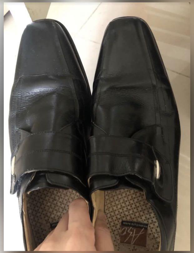 阿瘦皮鞋Aso  男方頭亮面紳士皮鞋 8號