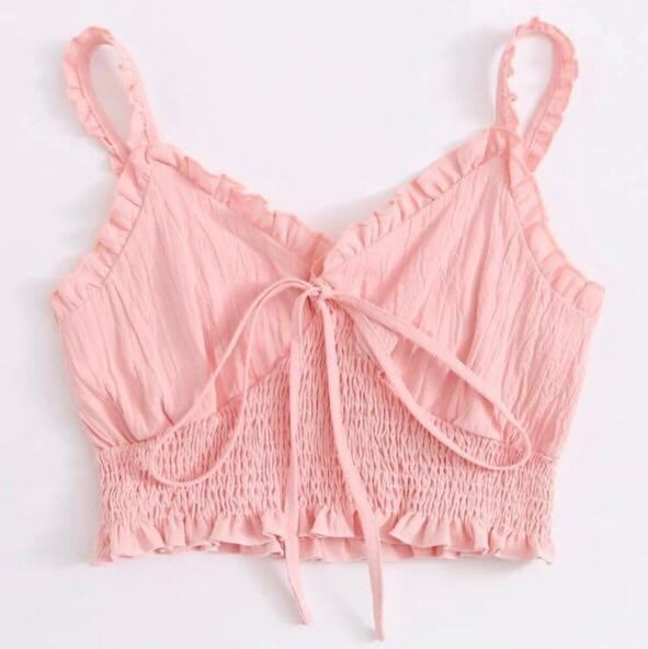 Baby pink shirred and tie detail crop top