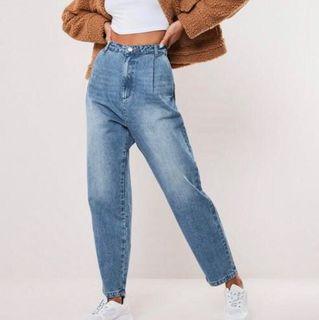 Baggy pleated high waist jeans
