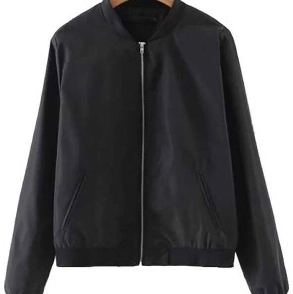 Black bomber jacket with ribbed sleeve cuffs