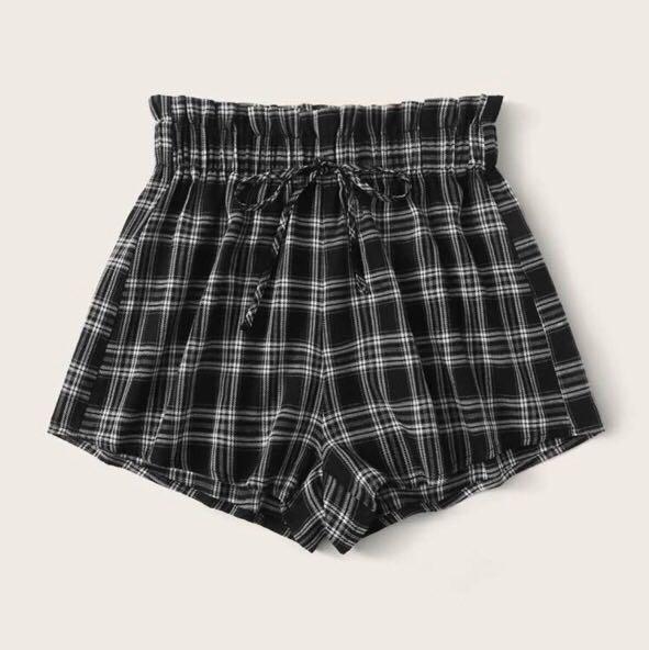 black plaid paper bag shorts
