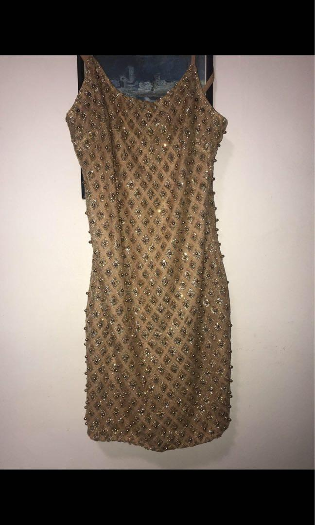 Gold sparkly beaded  dress