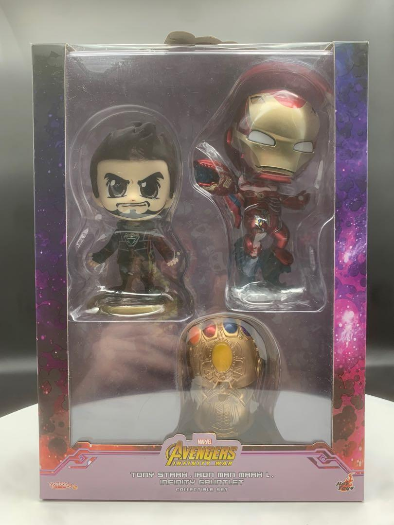 HOT TOYS COSBABY AVENGERS INFINITY WAY TONY STARK, IRON-MAN MARK L, INFINITY GAUNTLET COLLECTIBLE SET