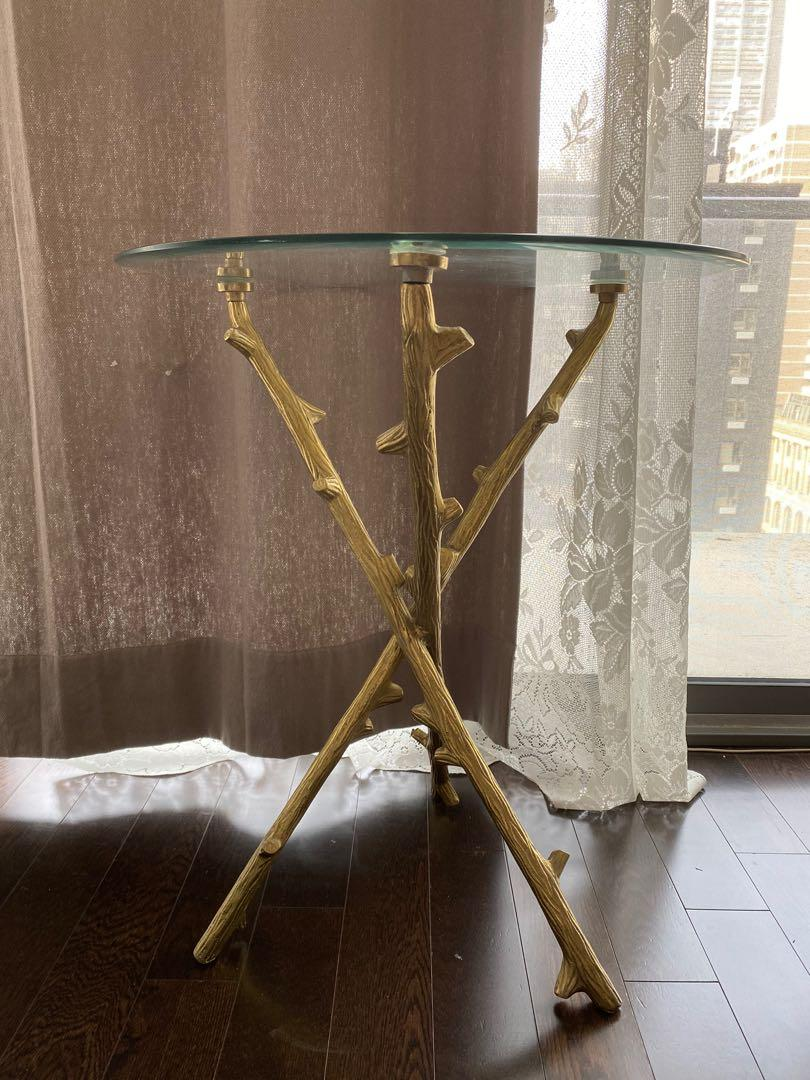 Luxury gold glass side table accent end table 1