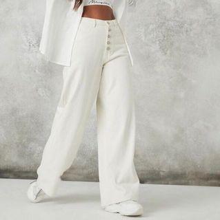 Off white high rise button up wide leg jeans