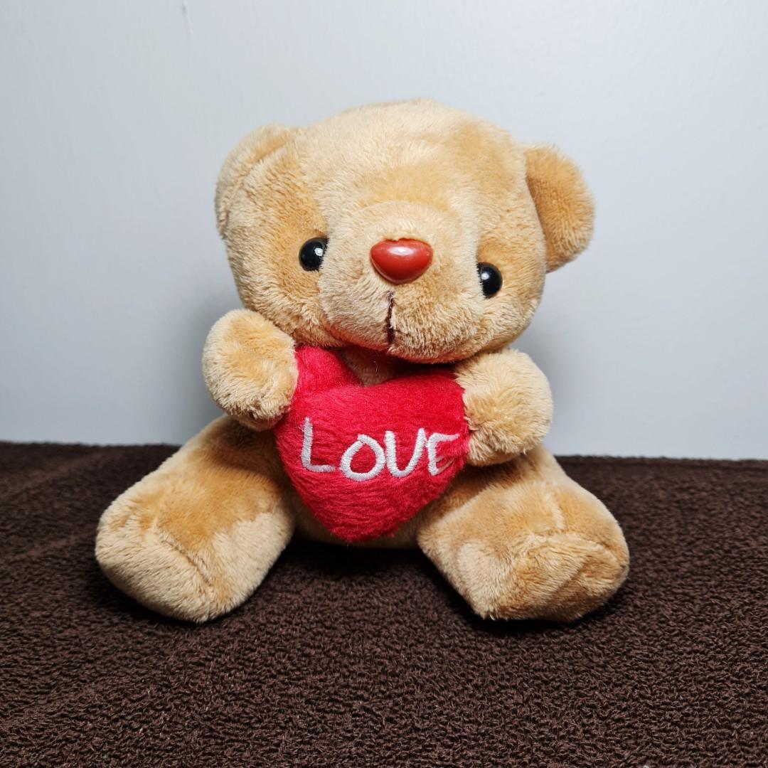 [PL] Boneka Beruang Love Hati Cinta Cokelat Coklat Krem Cream Lucu like new