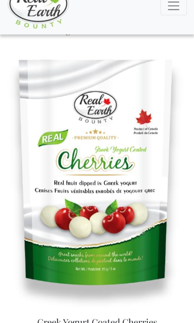 Real Earth Bounty, Greek Yogurt Coated Cherries