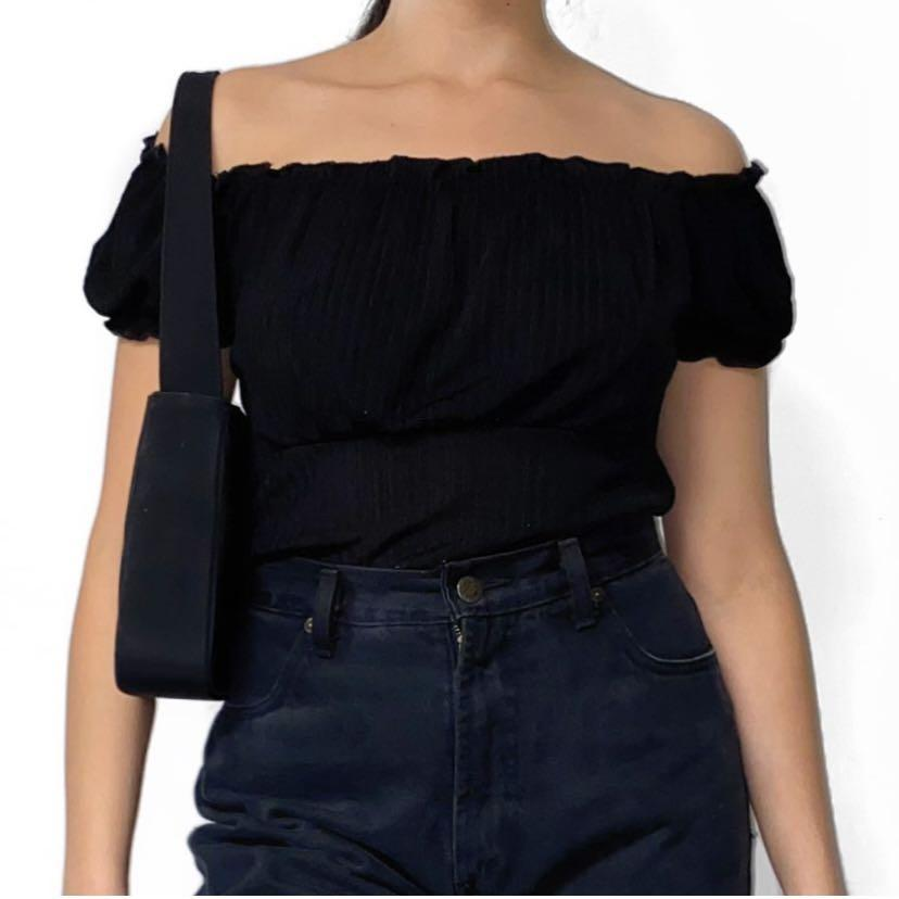 VINTAGE BLACK OFF THE SHOULDER TOP