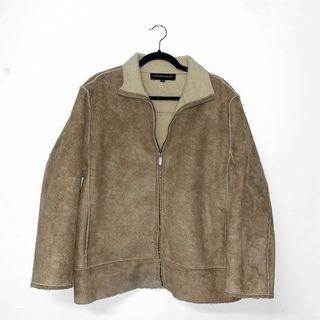 VINTAGE FAUX SUEDE COAT WITH WHITE SHEARLING LINING