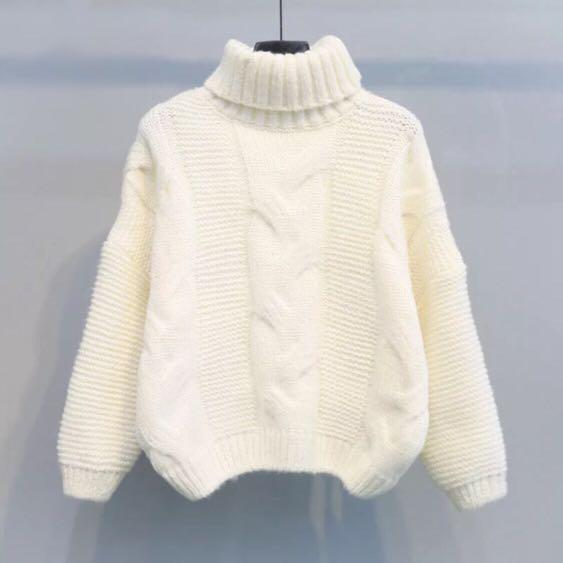 White knitted turtle neck sweater