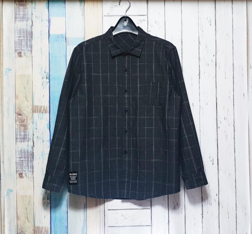 XL號-車縫格子線條襯衫