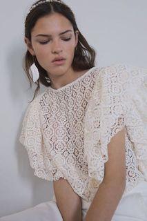 Zara Textured Ruffled Top
