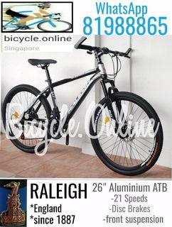 """26"""" Aluminium ATB / MTB (All Terrain / Mountain Bike) * 21Speeds, Disc Brakes & Front Suspension * Brand new RALEIGH bicycle (mud guards offer, add $6)"""