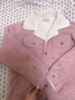 羔羊毛翻領粉色外套