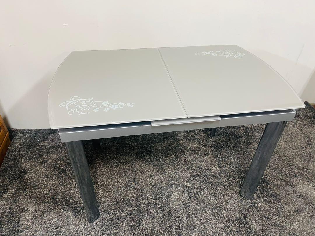 《大淡水精品二手傢俱》銀灰玻璃鏡面延伸餐桌