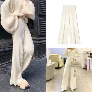 全新白色落地寬褲針織毛線寬褲螺紋白色毛線寬褲針織寬褲長褲子