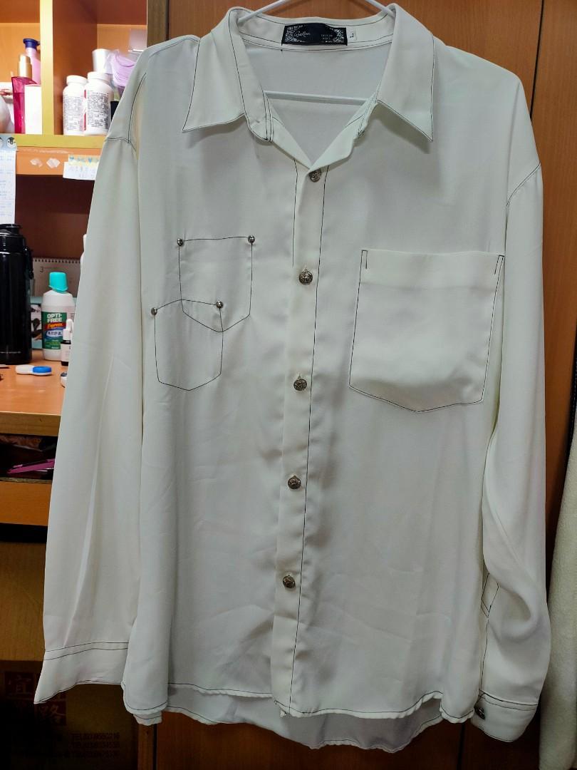 「古著狂人」白色雪紡襯衫~