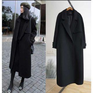 【二手】冬天必備百搭款 羊毛長黑色長大衣