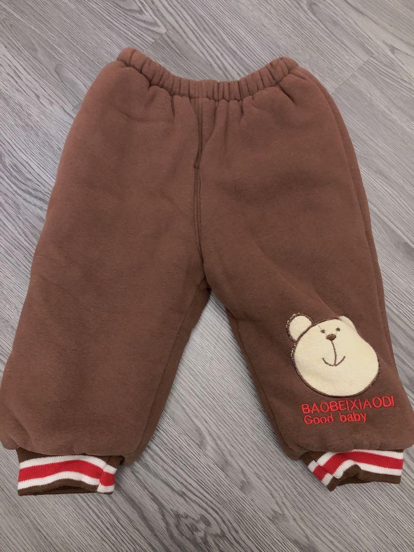 小朋友長褲 咖啡熊熊 保暖厚款 6號