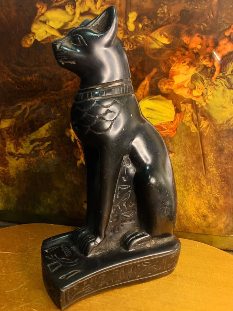 Antique Hard Resin Cat Statue Egyptian