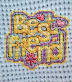 Best Friend by Durene Jones Cross Stitch Hand Made Ready Made Wall Table Display