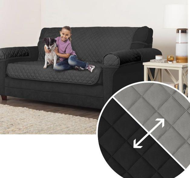 Brand new 3-Piece Reversible Sofa Furniture Protector, sofa cover sofa slippers black/Grey