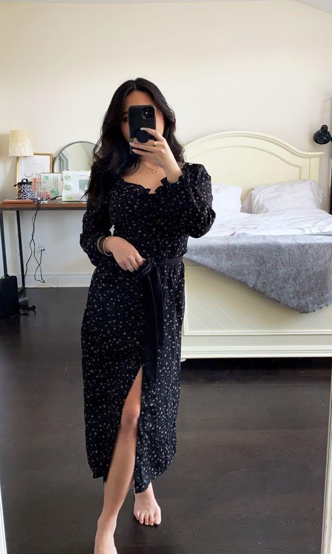 Missguided Midi Milkmaid Dress Black with Florals