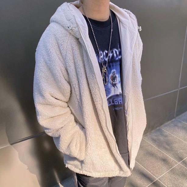 【new clothing】🇰🇷韓國 北極絨 絨毛 雙面穿 防風 尼龍 寬鬆 落肩 保暖 連帽 外套 (2color)