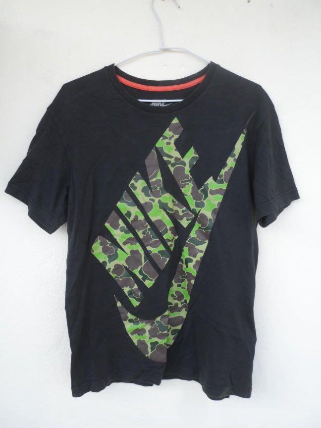 NIKE 迷彩LOGO 黑短T T恤 短袖  男版M號