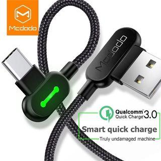 Original Mcdodo Angled Micro USB C Android Lightning IOS Fast Charging Cable Charger L1.2C1.8M1.21.8