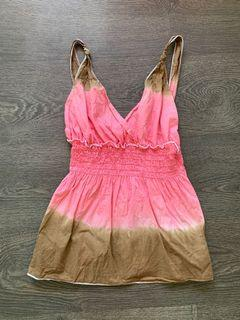 Pink and Brown Tie Dye Tank Size Small