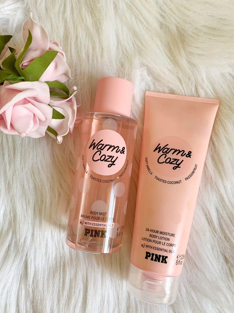 Pink spray body mist and body lotion