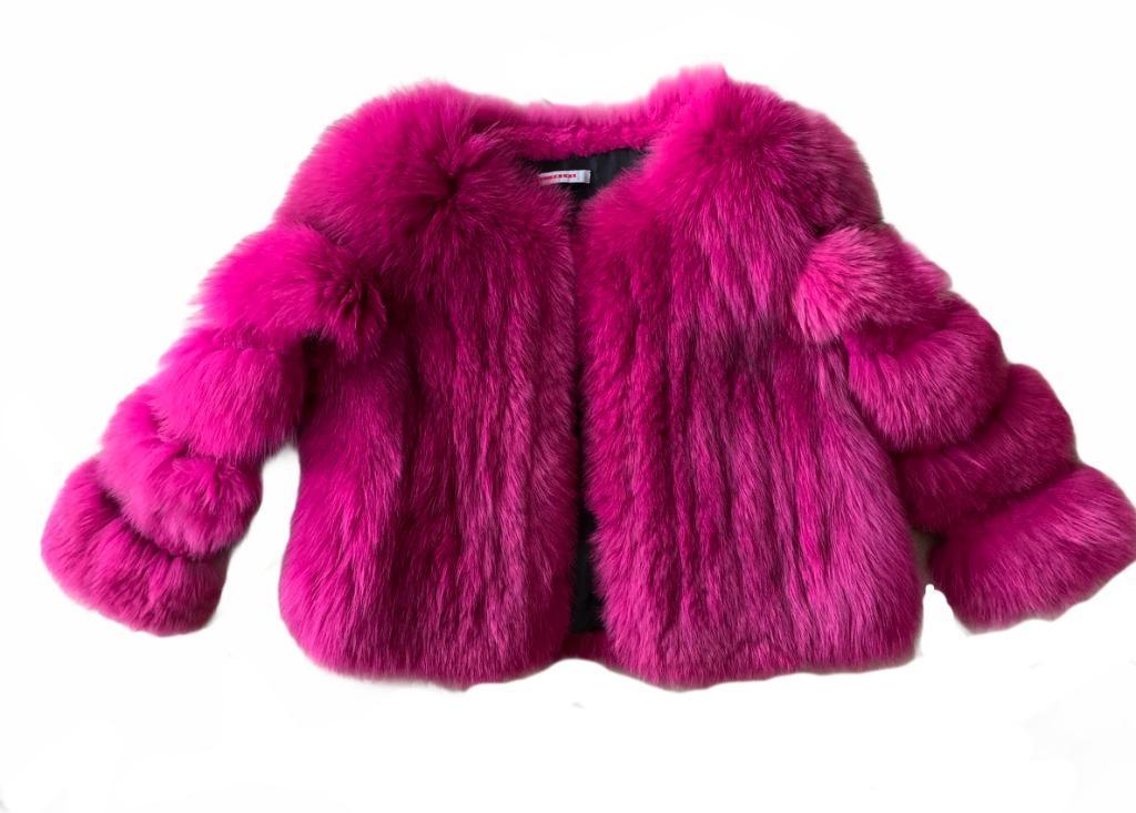 Prada pink fox fur coat