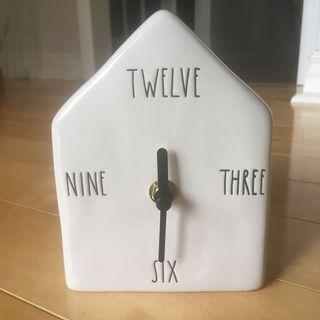 Rae Dunn clock with written numbers