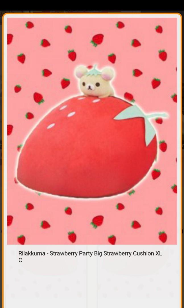 Rilakkuma Strawberry Big Party Cushion XL C [Toreba]