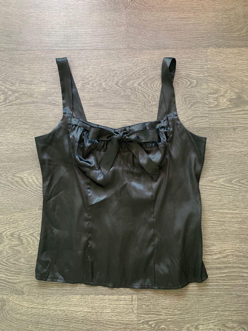 Seduction black satin corset style top Size XS Small