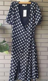 美國simple retro復古波點裹身長裙