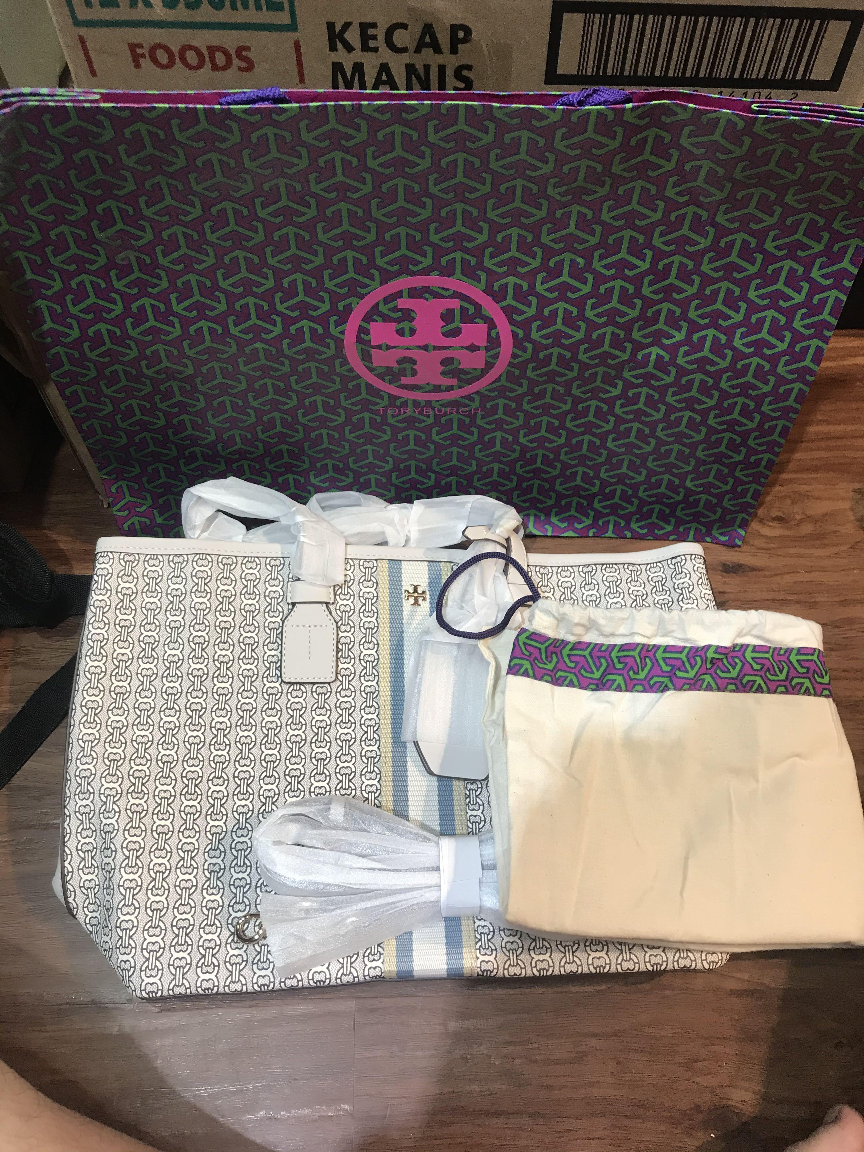 TORY BURCH GEMINI LINK CANVAS SMALL TOTE INVORY