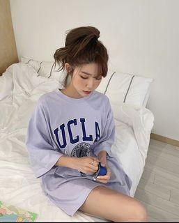 正韓製 全新 Chuu UCLA 印花短袖 上衣 tee T恤 圓領 寬鬆 長版 純棉