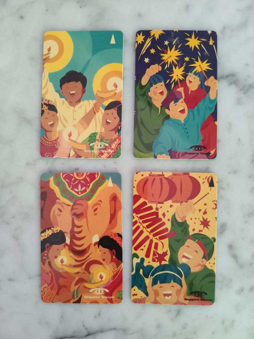 "Used Collectable Singapore Telecom Phone Cards - ""Festival Celebrations"" Series"